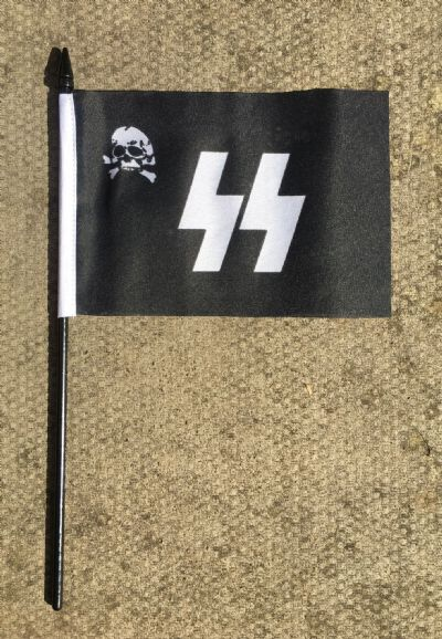 HAND WAVING FLAG (SMALL) - German SS Deaths Head